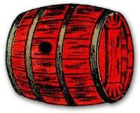 cutout: rotes Holzfass