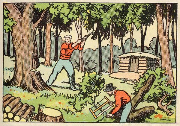 farbige Illustration: Holzfäller schlagen und sägen Baum