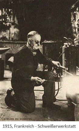 sw Postkarte: Schweißer arbeitet in seiner Werkstatt - 1915, FR