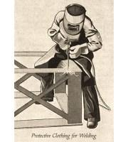 sw Litho: Mann in Schweißerschutzkleidung ~1960, GB