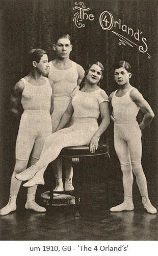 sw Postkarte: 3 Akrobaten und 1 Akrobatin in Fotografierpose ~1910, GB