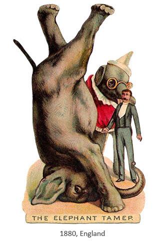 Oblatenbild: Dompteur mit 2 Elefanten, einer macht Kopfstand - 1880, GB