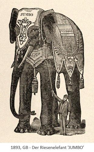 Holzschnitt: Dompteur mit riesigem Elefant- 1893, GB