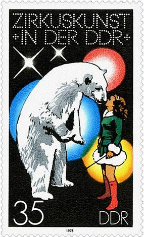 Briefmarke: 'Dompteuse mit Eisbär' - 1978, DDR
