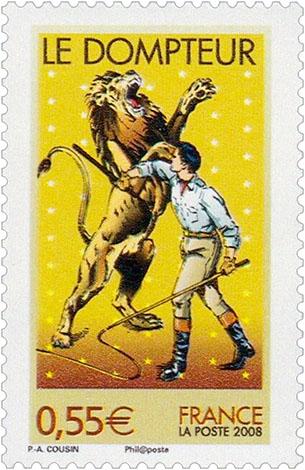 Briefmarke: Dompteur mit aufgerichtetem Löwe - 2008, FR