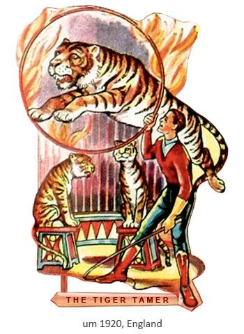 Oblatenbild: Dompteur und 3 Tiger, einer springt durch Feuerreif - 1920, GB
