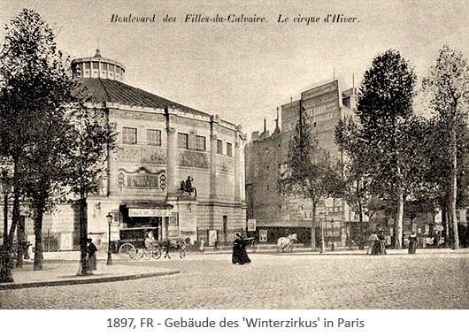 sw Postkarte: 12eckiger Bau des Winterzirkus in Paris - 1897