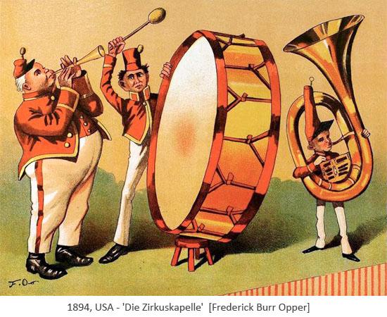 Farblitho: Die Zirkuskapelle - 1894, USA