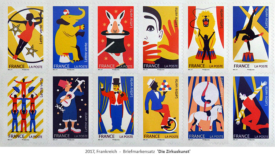 Briefmarkensatz 'Die Zirkuskunst' - 2017, FR