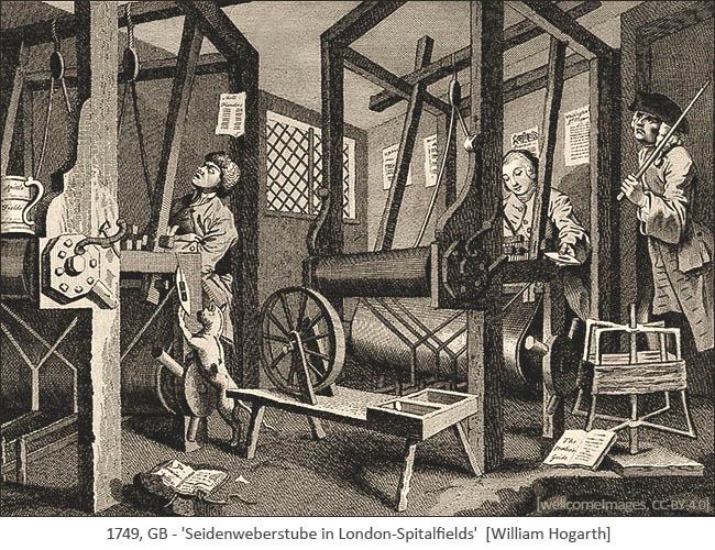 Kupferstich: 2 Seidenweber an Webstühlen und Aufseher mit geschultertem Stock - 1749, GB