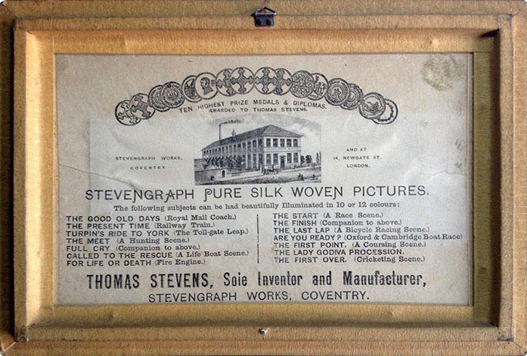 Seidenwebbild: Rückseite mit Aufdruck von Stevengraph Works - 1860, GB