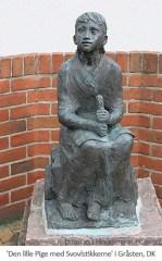 Bronzeskulptur: Schwefelholzmädchen in Gråsten, Dänemark