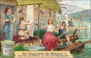 Sammelbild: Handspinnerin und Weberin an vertikalem Webrahmen - 1906