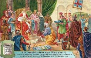 Sammelbild: Kaiser Karl erhält Seidenwaren als Geschenk - 1906