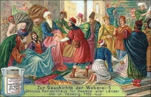 Sammelbild: viele geschäftige Händler im Handelshaus für Gewebe in Venedig - 1906
