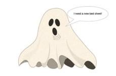 """Zeichnung: Gespenst mit Sprechblase """"I need a new bed sheet!"""""""