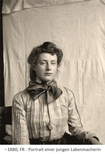 sw Foto: Portrait einer jungen Lakenmacherin ~ 1880, FR