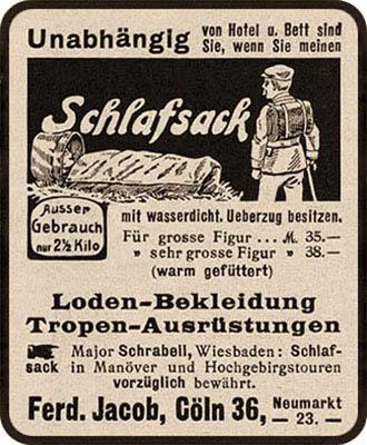 Annonce: Werbung für Schlafsack und Kleidung aus Loden - 1912
