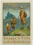 Reklamemarke: Männer in Lodenbekleidung in den Bergen ~1930