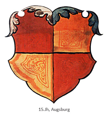 Zunftwappen: rot-gold geviertelten Schild - 15. Jh, Augsburg