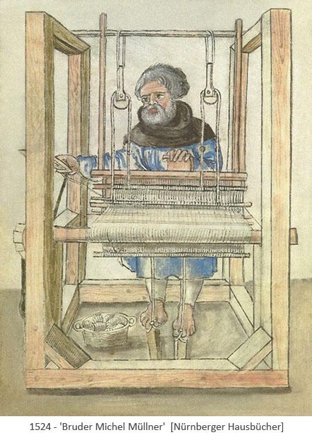 Buchmalerei: Bruder Michel am Webstuhl - 1524, Nürnberg