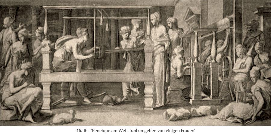 Kupferstich: Penelope am Webstuhl umgeben von einigen Frauen - 16. Jh