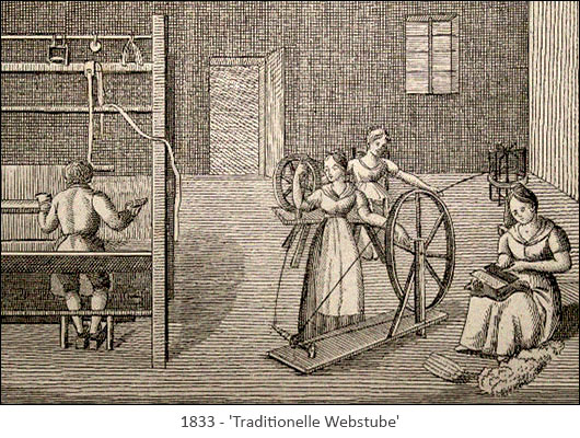 Kupferstich: Heimarbeit in traditioneller Webstube - 1833