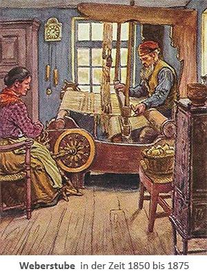 Sammelbild: Weberstube in der Zeit 1850-75