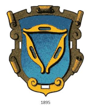 Zunftwappen: Dreieck aus 3 gelben Weberschiffchen auf blauem Grund - 1895