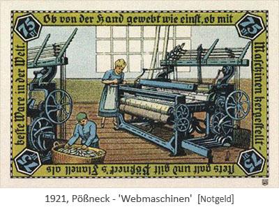 Abb. auf Notgeld: Frauen bedienen Webmaschinen - 1921, Pößneck