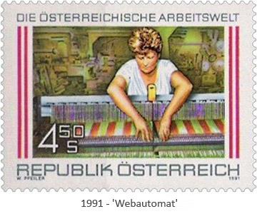 Briefmarke: Frau bedient modernen Webautomat - 1991, AT