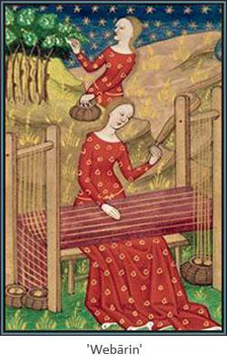 Buchmalerei: frühmittelalterliche Weberin im Garten