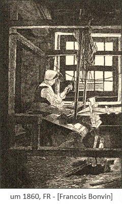 Kupferstich: Frau am Webstuhl aus dem Fenster blickend ~1860, FR
