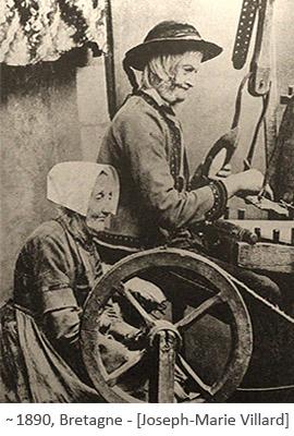 sw Foto: altes bretonisches Weberpaar ~1890, FR
