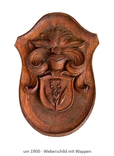 Farfoto: geschnitzes Holzschild mit Weberwappen ~1900