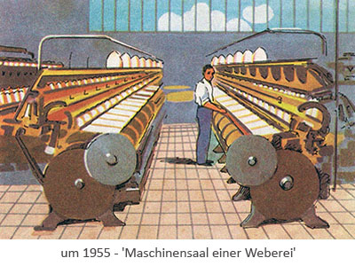 Farblitho: Arbeiter im Maschinensaal einer Weberei ~1955