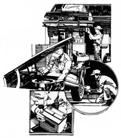 sw: verschiedene Tätigkeiten des Automechanikers