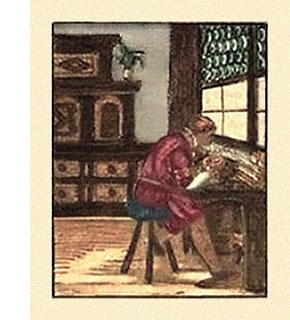 kolorierter Holzschnitt: an Arbeitstisch vor Fenster sitzender Steinschneider - 1568