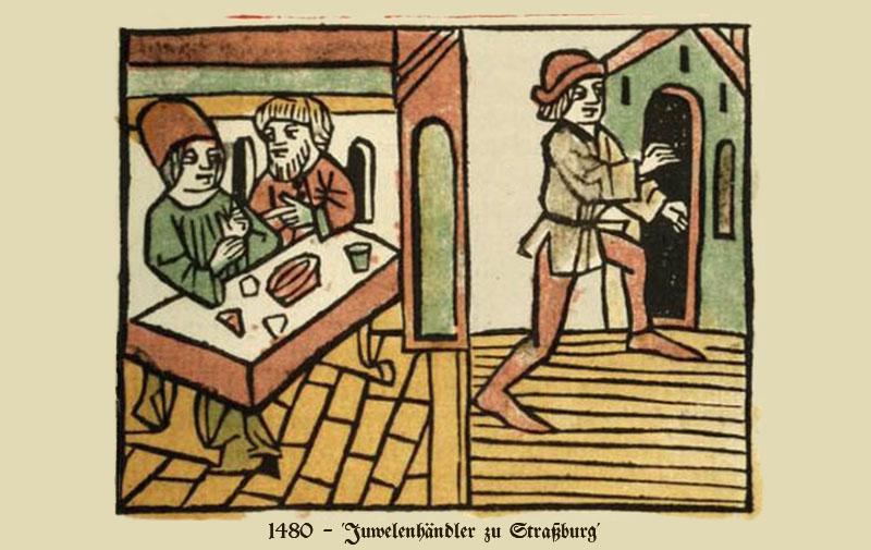 kolorierter Holzschnitt: 2 am Tisch sitzende Juwelenhändler und Kunde - 1480, Straßburg