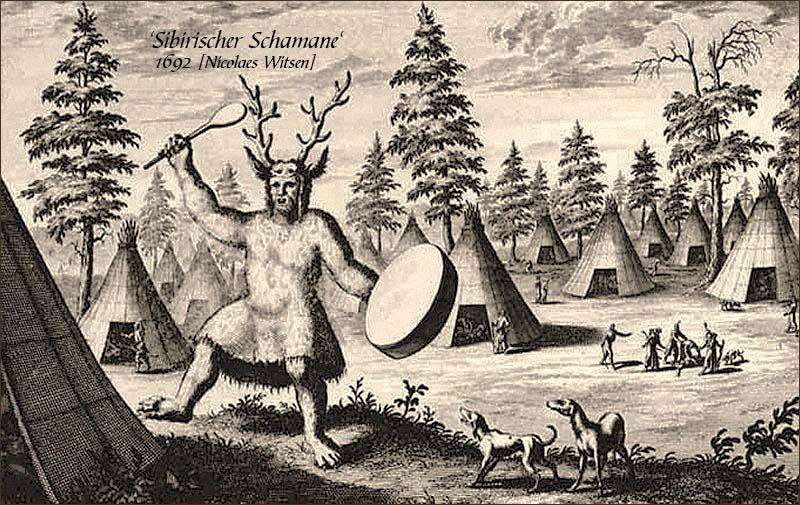 Tuschezeichnung: Sibirischer Schamane mit Geweih auf dem Kopf und Trommel - 1692