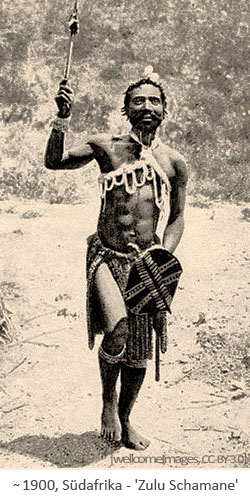 sw Foto: Zulu Schamane ~1900, Südafrika