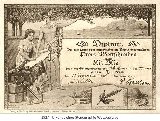 Litho: Urkunde eines Stenographie-Wettbewerbs - 1927