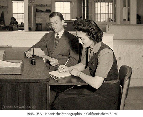 sw Foto: Japanische Stenografin in Californischem Büro - 1943, USA
