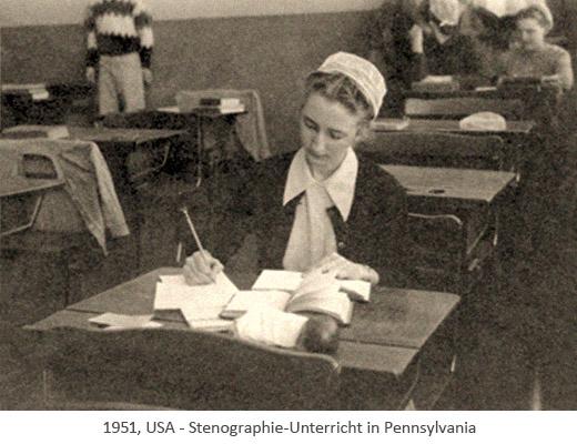 sw Foto: Frauen werden werden in Stenografie unterrichtet - 1951, USA
