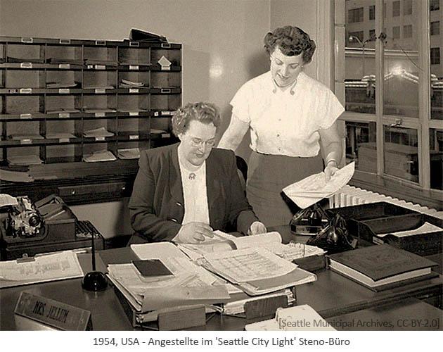 sw Foto: Angestellte im 'Seattle City Light' Steno-Büro - 1954, USA