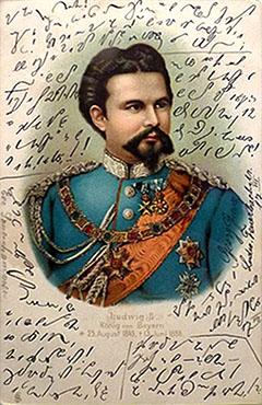 Postkarte: Bild von Ludwig II umrundet von Stenonachricht ~1900