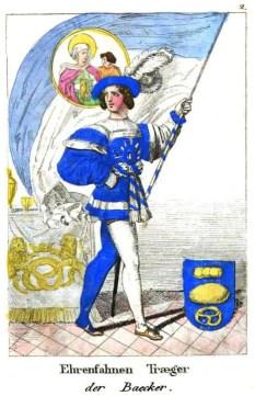 kolorierte Zeichnung: Mann im Kostüm mit großer Fahne