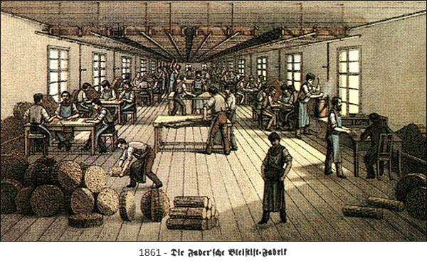 kolorierte Zeichnung: viele Bleistiftmacher bei verschiedenen Arbeitsschritten - 1861