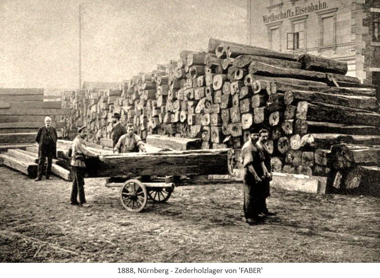 sw Foto: Zedernholzlager von FABER - 1888, Nürnberg