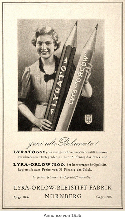 sw Annonce: Frau hält 2 riesige Lyra-Bleistifte im Arm - 1936, Nürnberg